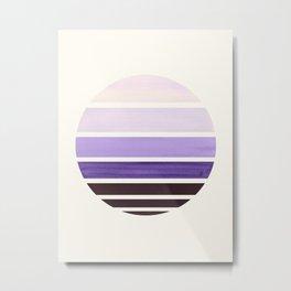 Purple Mid Century Modern Minimalist Circle Round Photo Staggered Sunset Geometric Stripe Design Metal Print