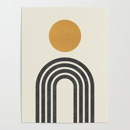 Mid century modern gold Poster