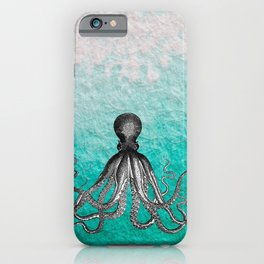 Antique Nautical Steampunk Octopus Vintage Kraken sea monster ombre turquoise blue pastel watercolor iPhone Case