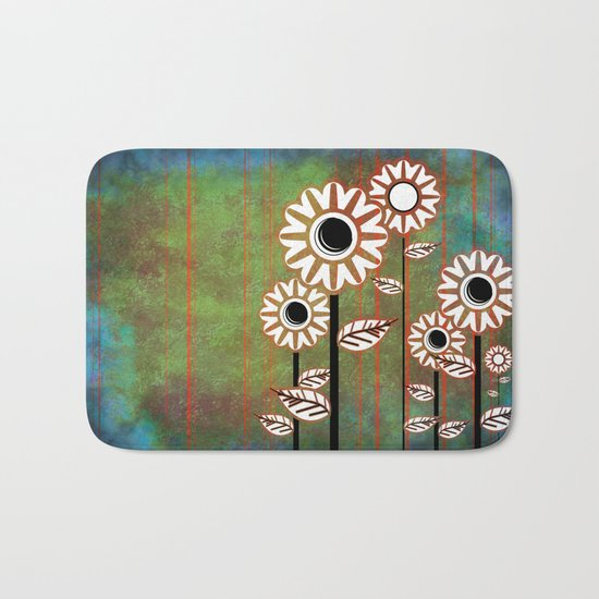 Retro flowers in brown and blue Bath Mat