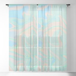 Faux Holographic Iridescent Texture Sheer Curtain