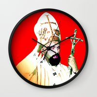 chad wys Wall Clocks featuring pope chad by Chad M. White