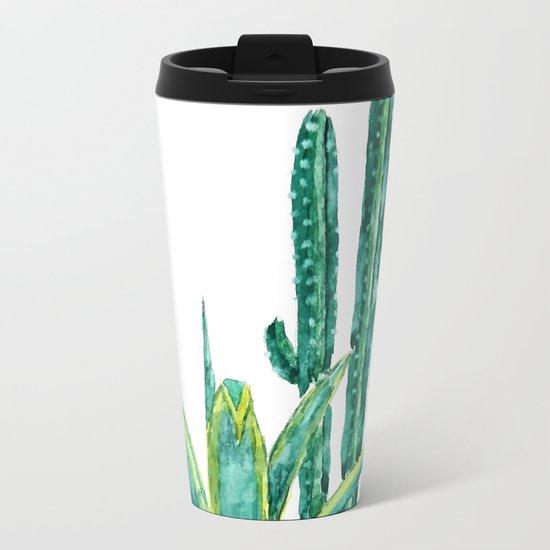 cactus jungle watercolor painting 2 Metal Travel Mug