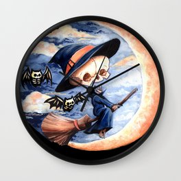 Halloween Witch Skellie Wall Clock
