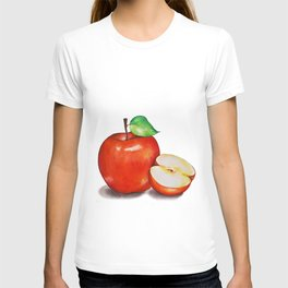 Juicy Red Apple with a Green Leaf and Half Cut Apple on a White Background. T-shirt