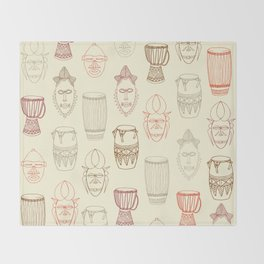 African drums and masks Throw Blanket