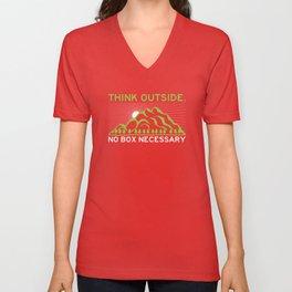 Think Outside No Box Necessary - Funny Hiking Pun Gift Unisex V-Neck