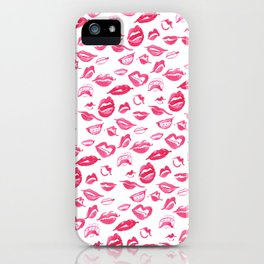 Pink watercolor lips pattern iPhone Case