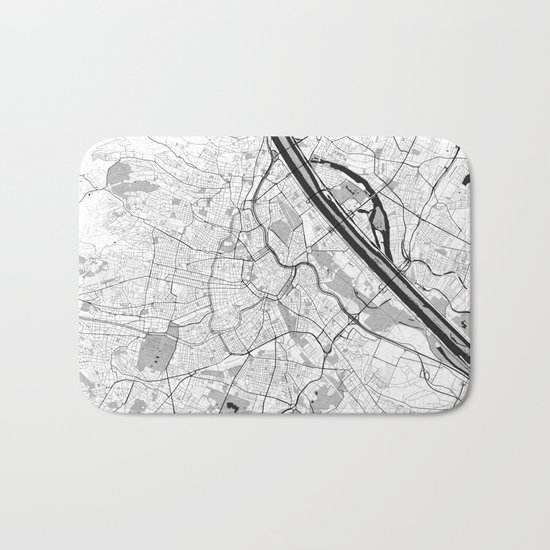 Vienna City Map Gray Bath Mat