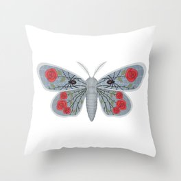 spider web and rose (made up moth) Throw Pillow