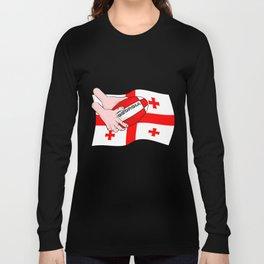 Rugby Georgia Flag Long Sleeve T-shirt