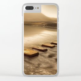 Stepping stones with oil painting effect Clear iPhone Case