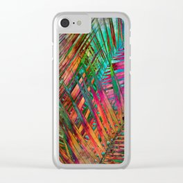 Multicolor Palm Leaves Clear iPhone Case
