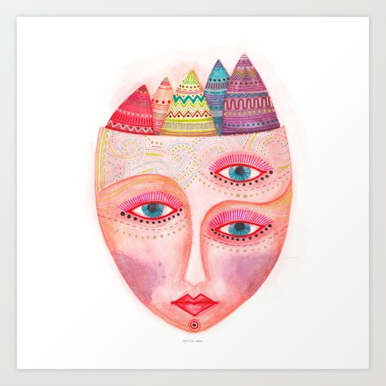 mask - girl with the most beautiful eyes Art Print