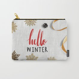 Hello Winter Holiday Typography Greeting Carry-All Pouch