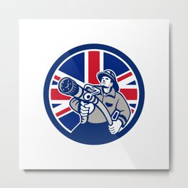 British Firefighter Union Jack Flag Icon Metal Print