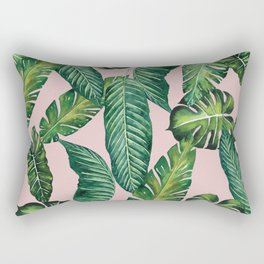 Jungle Leaves, Banana, Monstera II Pink #society6 Rectangular Pillow