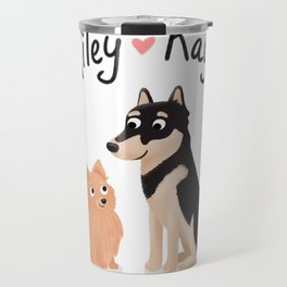 "Custom Dog Artwork, ""Riley and Kaya"" Travel Mug"