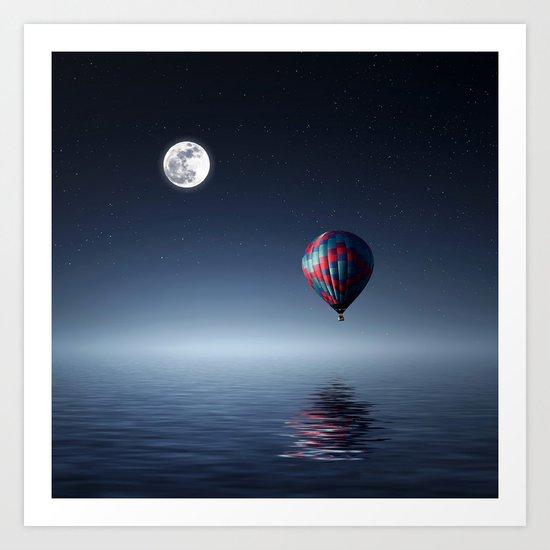 Moon & Balloon Art Print