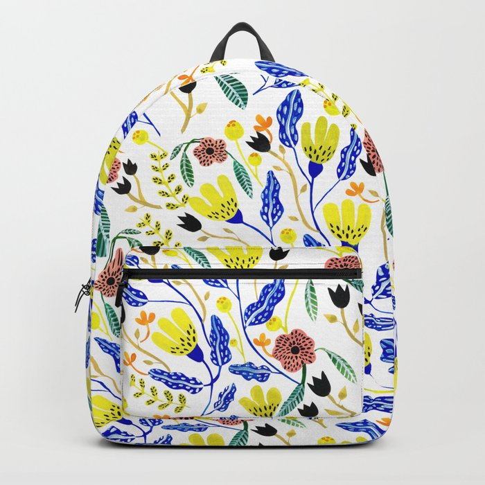 Graphic Floral Pattern Backpack