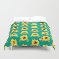 hamster Duvet Covers featuring Sunflower Hamster by Cocomich