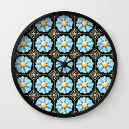 Blue Floral Millefiori Wall Clock