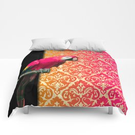 Pink Parrot & Vibrant Damask Print Comforters