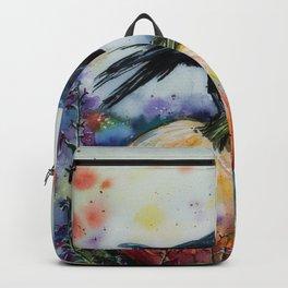 Pumpkin &  Crow Watercolour Painting Backpack