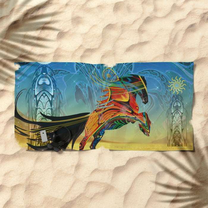 The Wind of Time (Red Horse) Beach Towel