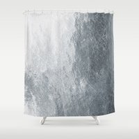 silver Shower Curtains featuring Silver by Patterns and Textures