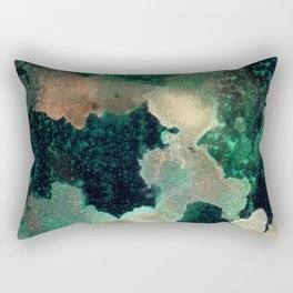 Gems : black, green, cream, brown, yellow, gold ink abstract painting Rectangular Pillow