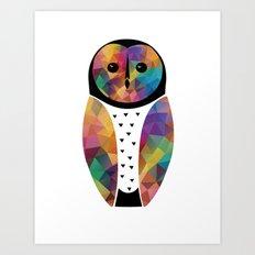 Geo Barn Owl Art Print