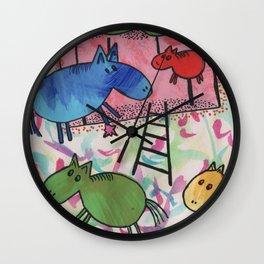 Merry go horsie by Laila Cichos Wall Clock