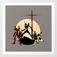 neon genesis evangelion Art Prints featuring Neon Genesis Evangelion - Hill Top by kamonkey