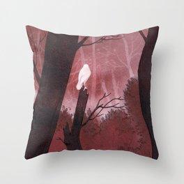 White crow in automn Throw Pillow