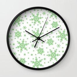Christmas Holiday Green Snowflake Pattern Wall Clock