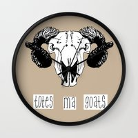 totes Wall Clocks featuring Totes Ma Goats by Liffy Designs