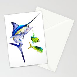 White Marlin Chasing Dolphin Fish Stationery Cards