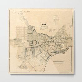 Map Of Los Angeles 1849 Metal Print