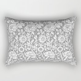 """William Morris Floral Pattern   """"Pink and Rose"""" in Grey and White   Vintage Flower Patterns   Rectangular Pillow"""