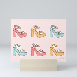 Retro Sandals, Vintage High Heels, Disco Platforms with Daisies in Pastel Blush, Rose, Pink, Mint, Mustard Color  Mini Art Print
