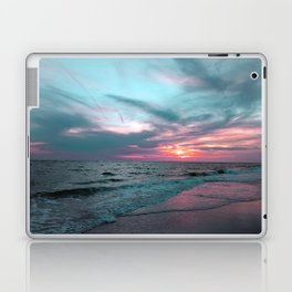Pink and Teal Beach Sunset tropical vacation Laptop & iPad Skin