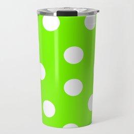 Polka Dots - Lawn Green and White Travel Mug