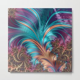 BLUE FEATHERS FRACTAL Metal Print