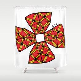 red tapa cross Shower Curtain