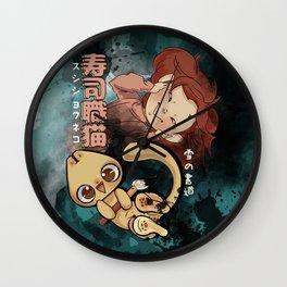 Sushi Chef Neko - Snow Shodou - Junpei and Anzu Design 2 Wall Clock
