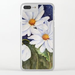 CLASSIC WHITE DAISIES in WATERCOLORS Clear iPhone Case