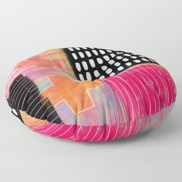 sometimes it all works - abstract painting Floor Pillow