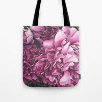 peonies Tote Bags featuring Peonies by Jada Fitch