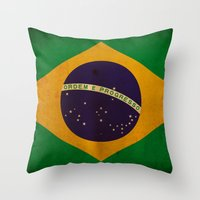 brasil Throw Pillows featuring Brasil by NicoWriter